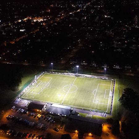 Football Match at night Aerial Photography